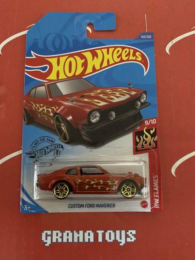 Custom Ford Maverick #142 Red 9/10 Flames 2020 Hot Wheels Case M