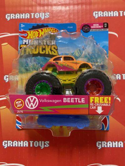 Volkswagen Beetle 21/75 Neon Shocker 3/7 2021 Hot Wheels Monster Trucks Case C