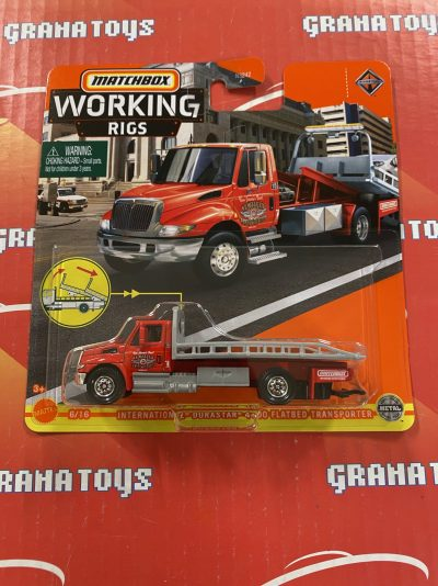International Durastar 4400 Flatbed Transporter 6/16 2021 Matchbox Working Rigs Mix K