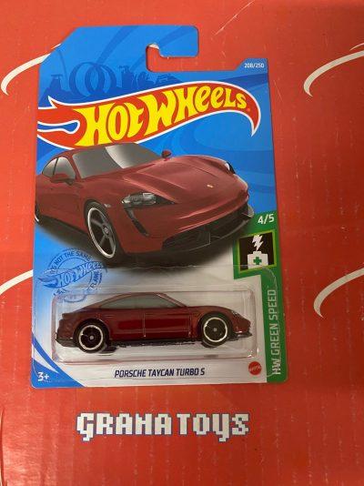 Porsche Taycan Turbo S #208 4/5 Green Speed 2021 Hot Wheels Case L